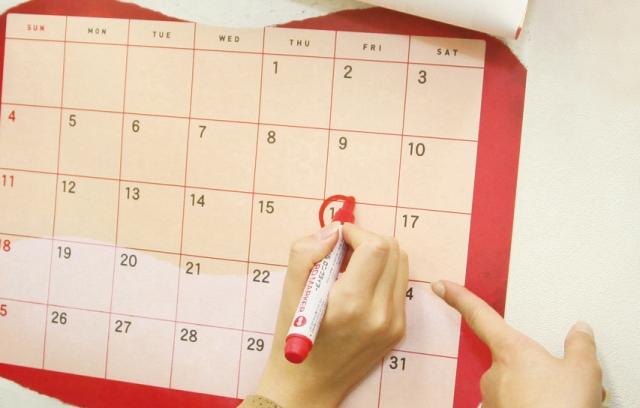カレンダーに丸する