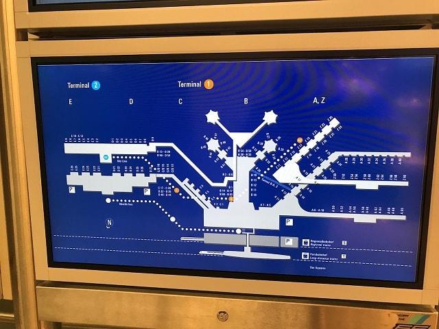 フランクフルト空港の第1ターミナルのゲートマップ